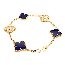 Van Cleef & Arpels 50th Anniversary Lapis Lazuli and Diamond 5 Motif Vintage Alhambra Bracelet