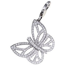 Van Cleef & Arpels 18K White Gold with Diamond Butterfly Charm Pendant