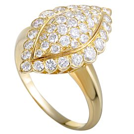 Van Cleef & Arpels Vintage 18K Yellow Gold with 1.31ct Diamond Pave Ring Size 8.25
