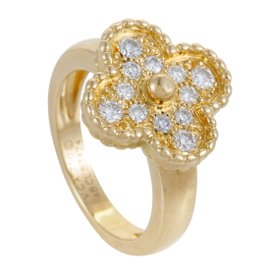 Van Cleef & Arpels Vintage Alhambra 18K Yellow Gold Diamond Pave Ring Size 4.5