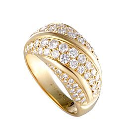 Van Cleef & Arpels 18K Yellow Gold Two-Row Diagonal 1.65ct Diamond Band Ring Size 9.25