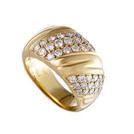 Van Cleef & Arpels 18K Yellow Gold Three-Row Diagonal 1.25ct Diamond Band Ring Size 6