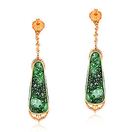 18k Yellow Gold Emerald Diamond Jade Earrings