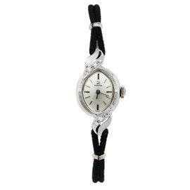 Omega 14K White Gold 0.18ct. Diamond 15.89mm Womens Watch