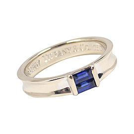 Tiffany & Co. 18K White Gold Blue Sapphire Stacking Ring