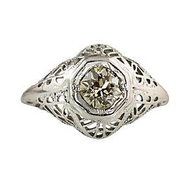18K White Gold & .48ct Diamond Ring Size 3.5