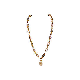 Chanel Champagne Simulated Glass Pearl Necklace