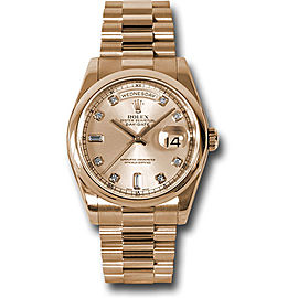 Rolex Day-Date II President 118205CHDP 18K Pink Gold Domed Bezel Pink Champagne Dial 36mm Mens Watch