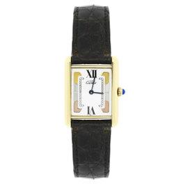 Cartier Must De Vermeil White Tri Color Dial 22mm Womens Vintage Watch