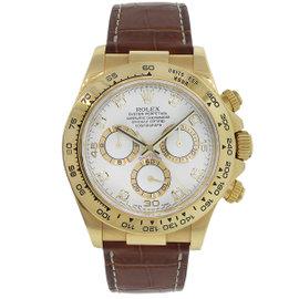 Rolex Daytona 116518 18K Yellow Gold & Leather 40mm Mens Watch