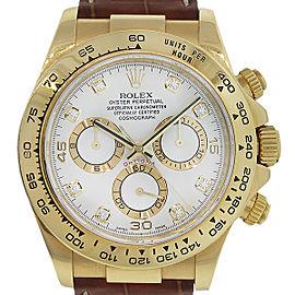 Rolex 116518 Daytona 18k Yellow Gold White Dial Watch