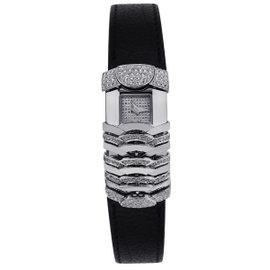 Charriol La Jolla LJG002 18K White Gold & Leather Diamond Quartz 40mm Womens Watch