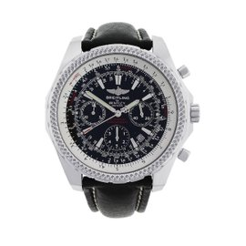Breitling Bentley A25362 Stainless Steel & Leather Black Dial Automatic 49mm Mens Watch