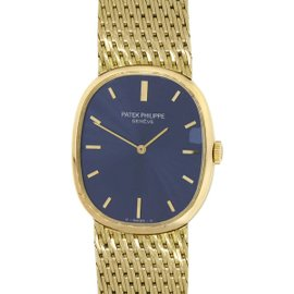 Patek Philippe Ellipse 3748/1 18K Yellow Gold Blue Dial 27mm Womens Watch