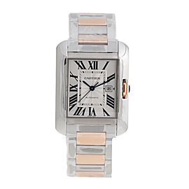 Cartier Tank Anglaise W5310037 18K Rose Gold and Stainless Steel Automatic 39.2mm x 29.8mm Watch