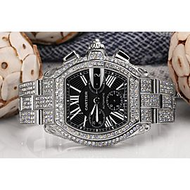 DEPOSIT FOR Cartier Roadster Xl W62020x6 Black Dial Stainless Steel Fully Iced Out Watch DR074