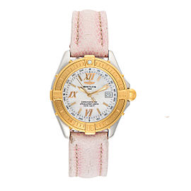 Breitling D67365 Two Tone Stainless Steel and 18K Yellow Gold Mother of Pearl Dial 34mm Womens Watch