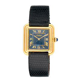 Cartier 18K Gold Electroplated Stainless Steel Manual Wind 28mm Womens Vintage Watch