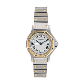 Cartier Santos Octagon Stainless Steel and 18K Yellow Gold Automatic 25mm Womens Watch