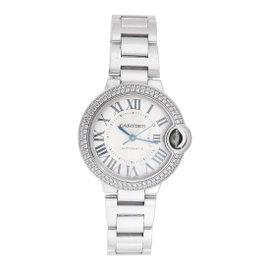 Cartier 18K White Gold Ballon Bleu WE902065 Diamond Bezel 33mm Womens Watch
