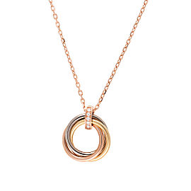 Cartier 18K Tri-Color 0.06ct. Diamonds Trinity Necklace