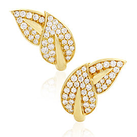 Van Cleef & Arpels 18K Yellow Gold Diamond Pave Leaf Earrings