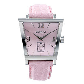 Corum Trapeze 106.404.20 Pink Steel Diamond Quartz 40mm Womens Watch