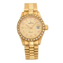 Croton 18K Yellow Gold Custom Diamonds Quartz 29mm Womens Watch