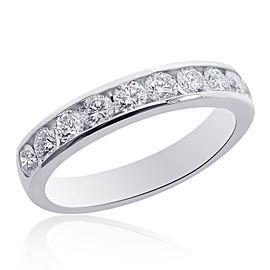 14K White Gold & Round Brilliant Cut Diamond Wedding Band