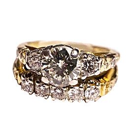 18k Yellow Gold and Platinum Diamonds Engagement Ring and Wedding Band Set Size 6