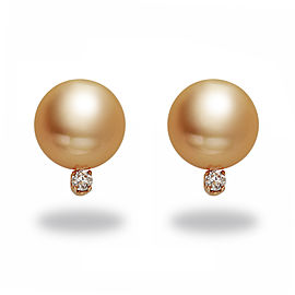 14k Yellow Gold Diamonds South Sea Cultured Pearl Earrings
