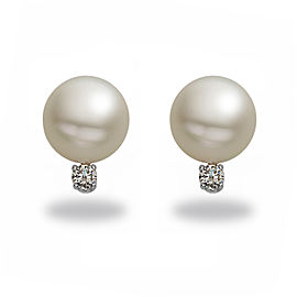 14k White Gold Diamonds South Sea Cultured Pearl Earrings