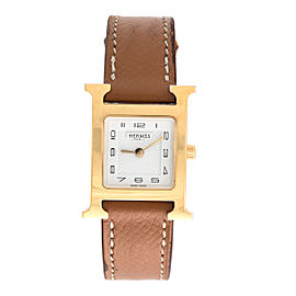 Hermes H Watch HH1.201 Gold Plated Quartz 24.5mm Womens Watch