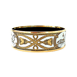 Hermes Gold Tone Enamel Bracelet Bangle