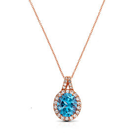 Le Vian Certified Pre-Owned Ocean Blue Topaz and Vanilla Topaz Pendant set in 14k Strawberry Gold