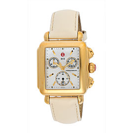 Michele Signature MW06A00A9025 Gold Plated Stainless Steel & Leather Quartz 32mm Womens Watch