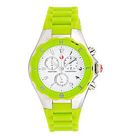 Michele Tahitian Jelly Bean Stainless Steel & Green Silicone 40mm Womens Watch