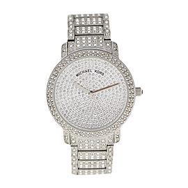 Michael Kors Mk5060 Silver Tone Stainless Steel Swarovski Crystal 38mm Watch