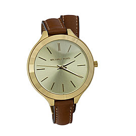 Michael Kors Runway Mk2256 Gold Tone Stainless Steel Champagne Dial 42mm Watch