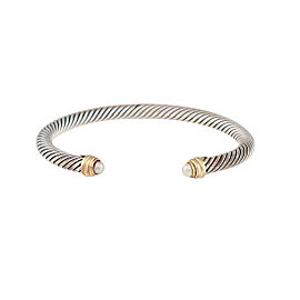 David Yurman Sterling Silver Cultured Pearl Cable Clasics Bracelet