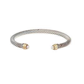 David Yurman Sterling Silver Cultured Pearl Cable Clasics Bracelet