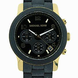 Michael Kors Chronograph Runway Stainless Steel and Black Polyurethane Watch