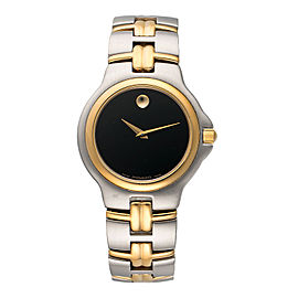 Movado Museum 81.E2.887.2 Two Tone Stainless Steel and Gold Plated Black Dial Swiss 37.5mm Mens Watch