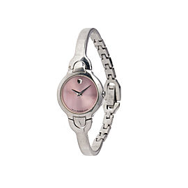 Movado Kara Ladies Pink Dial Stainless Steel Swiss Quartz Watch 0605284