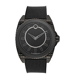 Movado Master 0606363 Black PVD Coated Stainless Steel & Rubber Automatic 44mm Mens Watch