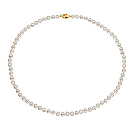 14k Yellow Gold Akoya White Cultured Pearl Necklace