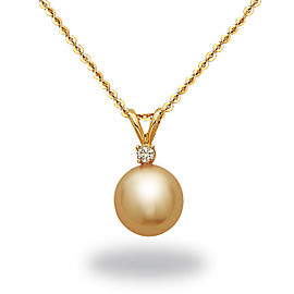14k Yellow Gold Diamonds South Sea Cultured Pearl Necklace