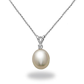 14k White Gold Diamonds Diamonds South Sea Cultured Pearl Necklace