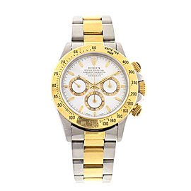 Rolex Daytona Cosmograph 16523 40mm Steel Gold White Watch