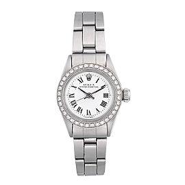 Rolex Oyster Perpetual 6918 Stainless Steel Custom Diamond Bezel 25mm Womens Watch